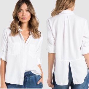 Bella Dahl White Split Back Buttoned Down Shirt